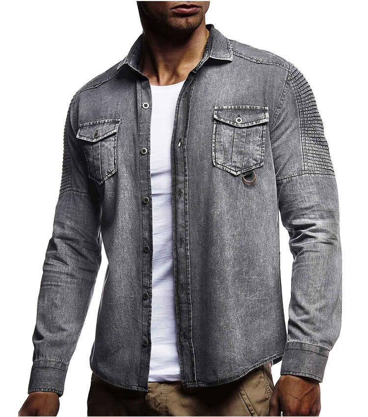Denim Shirt Autumn New Men Cotton fashion Slim Shirt Long Sleeve casual Cowboy shirt High Quality Single-breasted Gray 3XL