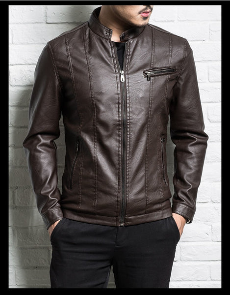 Men genuine leather jacket sheepskin new spring and autumn handsome slim zipper male motorcycle leather jacket teenager boy