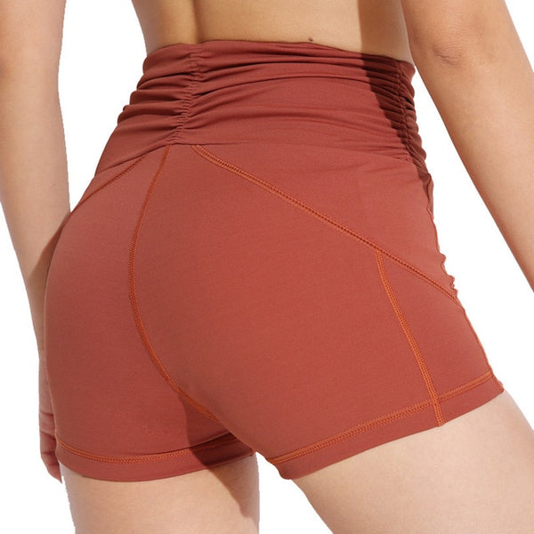 One F Wrinkle Sport Shorts Women Widen High Waist Tummy Control Workout Running Shorts Exercise Fitness Yoga Shorts 2018