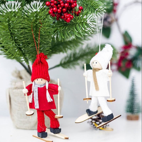 Creative Christmas Angel Girl Ski Pendant Christmas Tree Decoration For Home Xmas Cute Doll Party Decoration Kids Gift