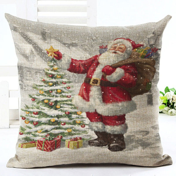 45X45cm Decor Merry Christmas Decorations for Home Pillowcase Santa Claus Reindeer Linen Cover Cushion Natal