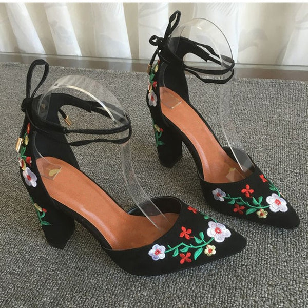 Women High Heels Plus Size Embroidery Pumps Flower Ankle Strap Shoes Female Sexy Party Wedding Shoe Pointed Toe Footwear