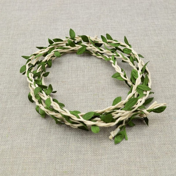 100CM/lot Artificial Flower Vine Rattan Wedding Car Decoration DIY Wreath Silk Garland Green Leaf for Home Bride headband