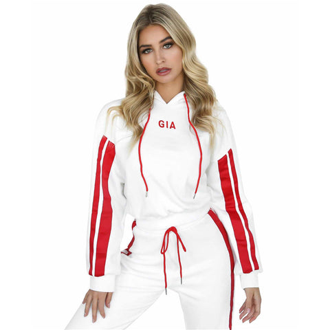 Women Tracksuit pullover Hoodies Sweatshirt And Pants 2 Pieces Set Female Cropped Top Pullover And Trousers Suit