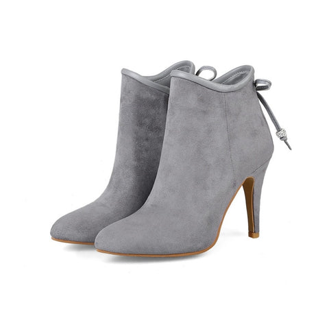 black pink gray autumn winter women boots round toe ladies flock sweet butterfly knot super high ankle boots plus size
