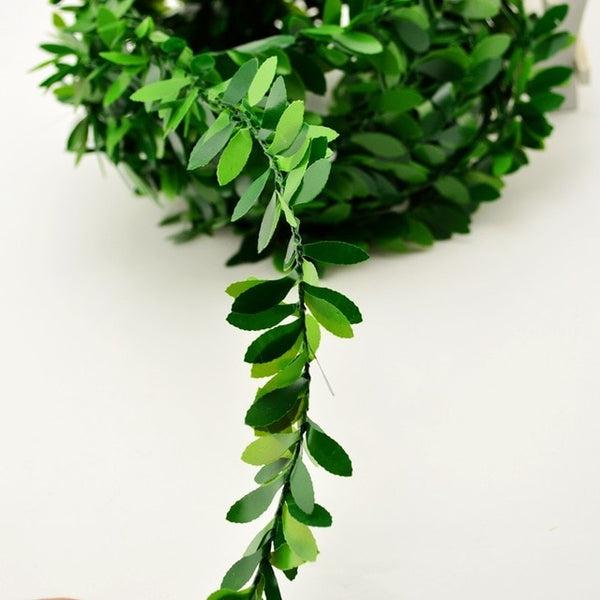 2m artificial flowers rattan Leaf Nylon Iron Wire DIY wreath Accessory For Wedding Car Decoration garland silk Scrapbooking