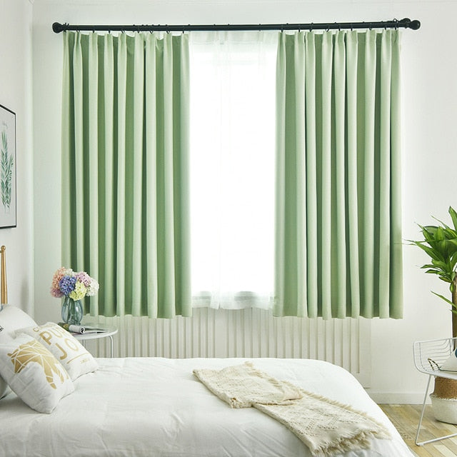 Thick Fabric 90% Shading Curtains for Bedroom Living Room modern Blackout Curtain for window Solid Color window blind Drape 1pc