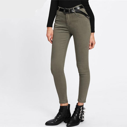 Skinny Ankle Army Green Denim Jeans Spring Autumn Female Casual Trousers Summer Button Fly Mid Waist Plain Crop Pants