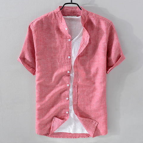 New arrival stand collar linen shirt men short sleeve breathable shirt mens cotton solid coral-red shirts male chemise