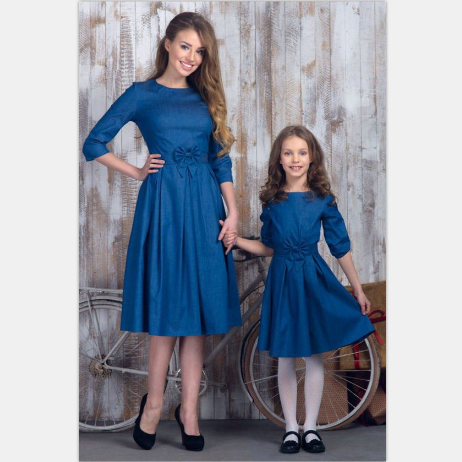 family mom and daughter matching clothes bows half sleeve mother baby  dresses mommy me outfits for girls mama family look dress