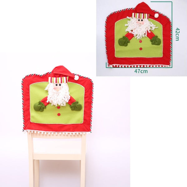 gift Santa Claus Elk Snowman Cap Cover Christmas Dinner Table Party Red Hat Back Covers Xmas Decoration
