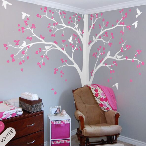 Kids Room Wall Design: Full Corner Tree Wall Sticker Nursery Kids Room Wall Decor