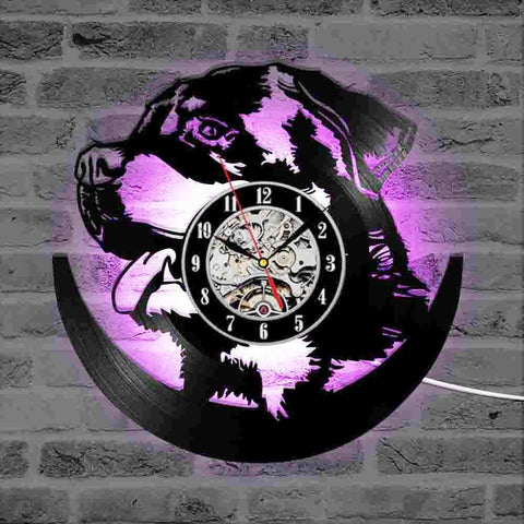 Hollow Rottweiler Dog 3D LED Lighting Wall Clock Modern Design Vinyl Record Clock Amimal Silhouette Room Decor Hanging Clock