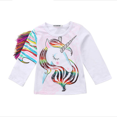 Toddler Kids Girls Autumn Long Sleeve Cartoon Clothes Tops Tassel Unicorn Long Sleeves Sweater Clothes 1-6Y