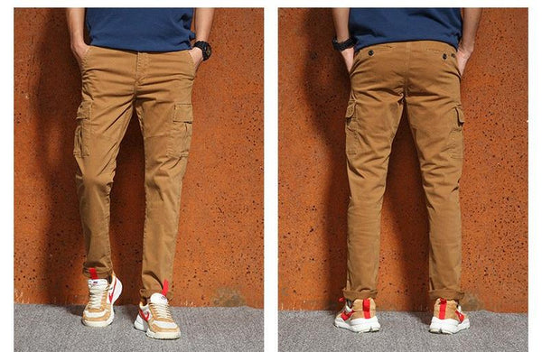 Tactical Cargo Pants Men Cotton Side Pocket Military Black Khaki Army Casual Pants Men Slim Trousers Male Big Size 36 38