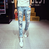 New mens jeans brand destroyed hole jeans straight men's robin jeans slim frayed denim true harem jeans for men