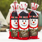 Table Decor Dinner Party Red Wine Christmas Santa Tree Bottle Cover Bags Sets Bottle Decor for New Year Xmas Dinner Party