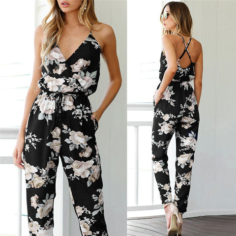 New Women's Fashion Jumpsuit Women Sleeveless V-Neck Floral Printed Playsuit Party Trousers Jumpsuit #JP5