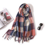 luxury brand women scarf fashion plaid winter cashmere scarves for lady pashmina warm neck bandana Blanket shawls wrap