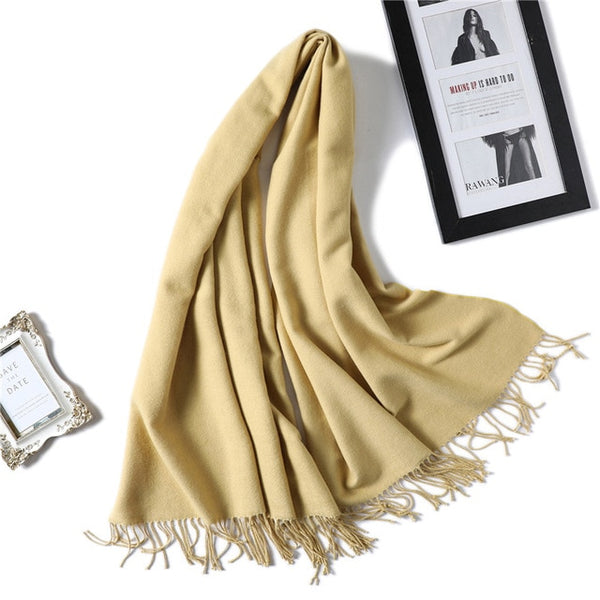 winter scarf for women thick warm double side cashmere scarves lady shawls and wraps pashmina soft long size bandana