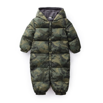 31d828881423 ... Winter Baby Boys Camouflage Jumpsuit Baby Keep Warm Romper infants  Hooded flannel Thicker Clothes Toddler Girls ...