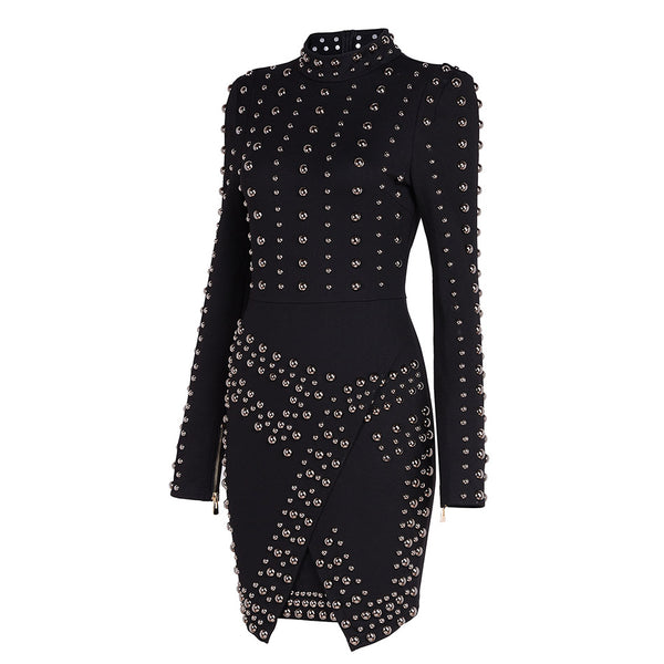 New Winter Dress Fashion Designer Runway Dresses Black Vestido Women's Long Sleeve Metal Beaded Rivet Bodycon Dress