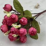 Autumn 15 heads/bouquet small bud roses bract simulation flowers silk rose decorative Flowers Home decorations for Wedding 24CM