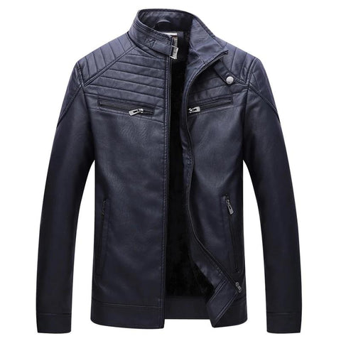 leather jackets men New winter Thicker Keep warm Collar coats blue/black leather jacket high quality plus size