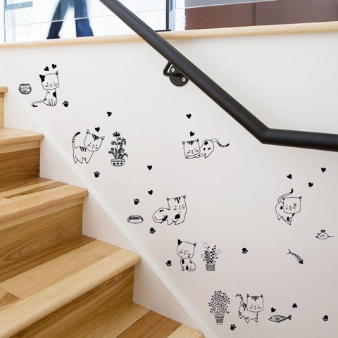 cartoon cats wall stickers kitchen bathroom bedroom stair refrigerator diy wall decals home decor self adhesive film