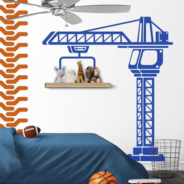 Construction Crane Wall Sticker Play Room Kids Room Large Construction Truck Traffic Crane Wall Decal Boy Room Vinyl Home Decor