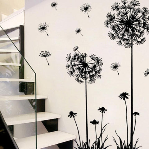 Wall Sticker Black Creative PVC Dandelion Flower  Wall Stickers Tree Large Removab Wallstickers  Etiqueta Da Parede    18APR18