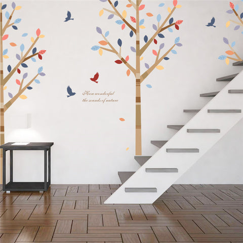 Forest Colorful Tree Animals Birds wall stickers for Living Room Bedroom TV Sofa Background Restaurant Cafe Decor Wall Decal