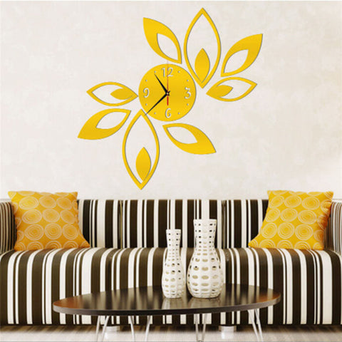 Wallpaper Sticker Stickers Big Flower Lotus DIY 3D Art Acrylic Mirror Wall Clock DIY Wall Sticker Wallpapers For Living Room #A