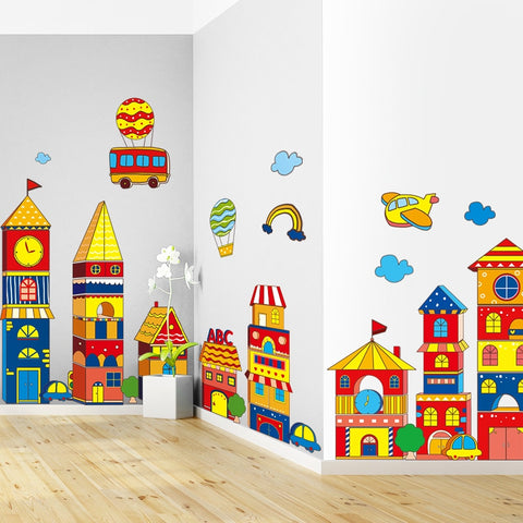 Cartoon Large Building Castle Children kids stickers girls decorative metope adornment  stickers babies room tile T180704