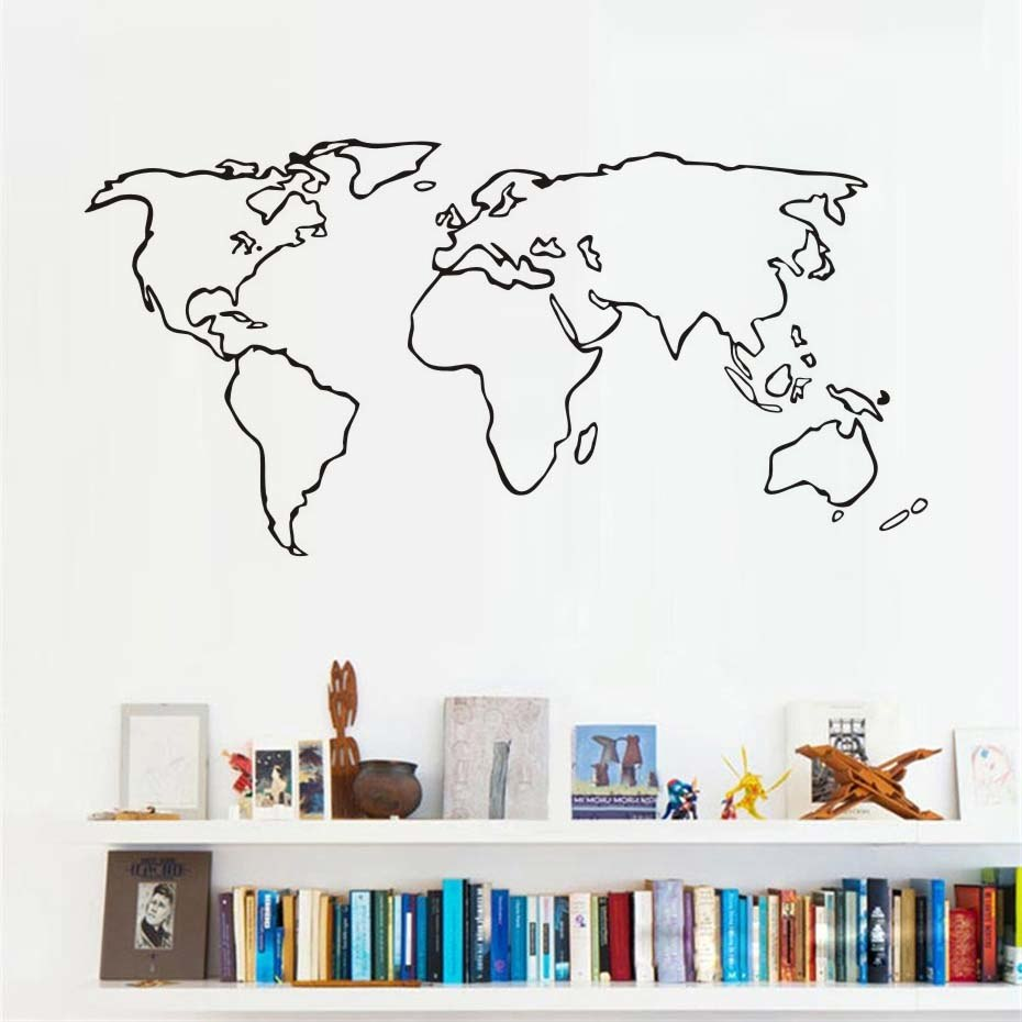 Large world map vinyl wall sticker for living room adhesive large world map vinyl wall sticker for living room adhesive removable map outline wall decals wallpaper gumiabroncs Image collections