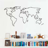 Large World Map Vinyl Wall Sticker For Living Room Adhesive Removable Map Outline Wall Decals Wallpaper Home Decoration