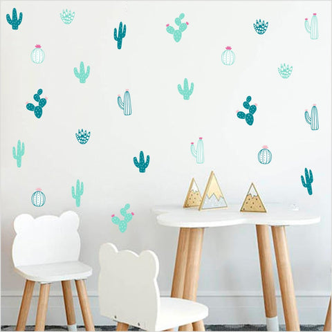 Creative DIY Cactus Wall Sticker For Living Room Home Decor Nursery Art Decor Tropical Plant Cactus Vinyl Wall Decals Wallpaper