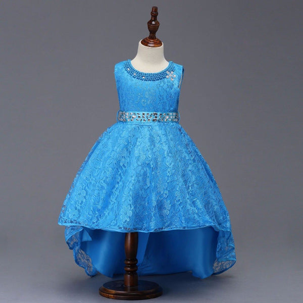 High Low Lace Flower Girls Dress For Evening  Princess Style Dress Candy Colors