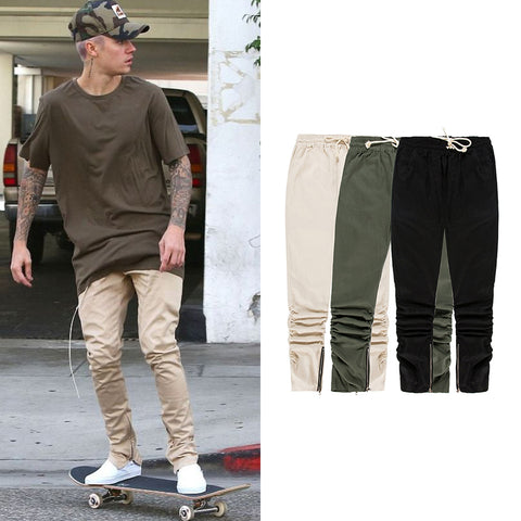 Mens Skinny Elastic Pleated Sweatpants Justin Bieber Side Ankle Zipper Slim Fit Pants Justin Bieber Hip-Hop Jogger Biker