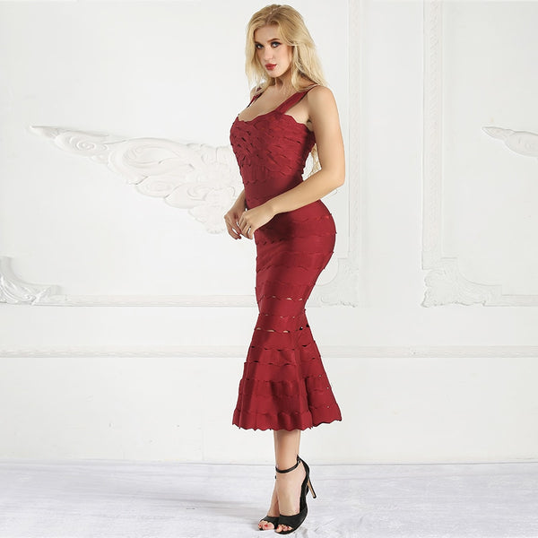 Slim Bandage Dress Summer New Arrival Fashion Party Long Dress Sexy Spaghetti Strap Hollow Out Ruffle Midi Dresses Women