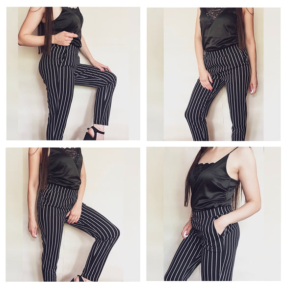 Elastic Waist Pinstripe Cigarette Pants Black Mid Waist Tapered Carrot Trousers Women Summer Office Ladies Pants