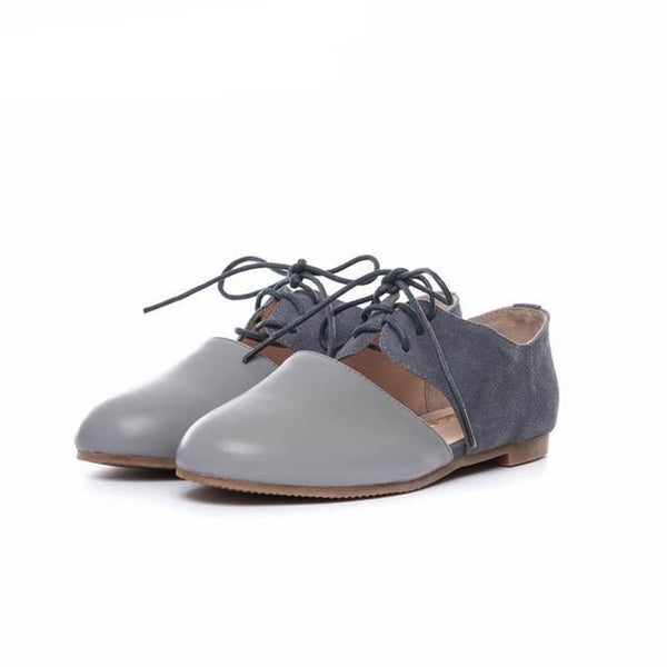 Women square toe flat laofers shoes handmade grey beige vintage Retro leather casual buckle comfortable loafer oxford shoes