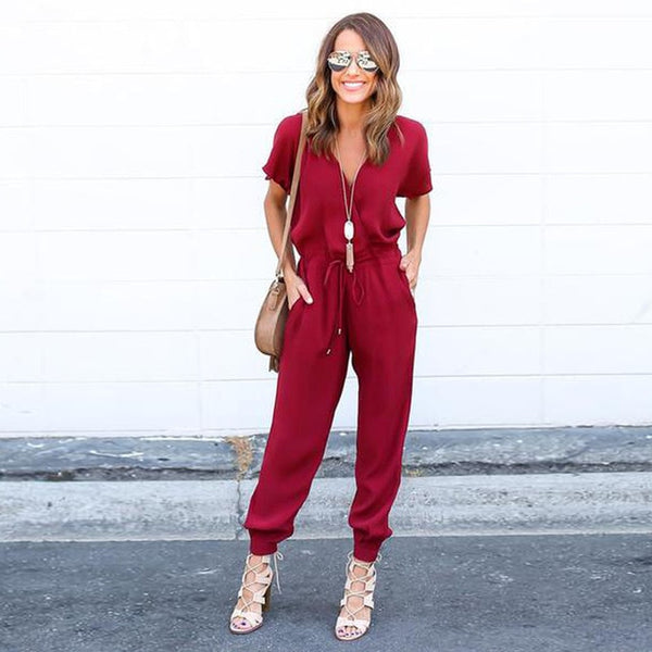 ladies clothes jumpsuit for women Chiffon Short Sleeve Playsuit long woman jumpsuits rompers womens jumpsuit boho