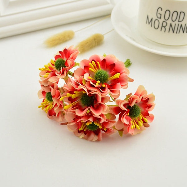 6pcs silk handmade stamens artificial bouquet wedding decorations DIY wreaths gift cut and paste process fake flowers