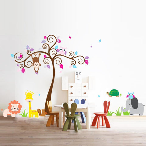 2pcs/lot Monkey Owl Animals Tree Removable Vinyl Wall Decal Stickers Kids Room Home Decor