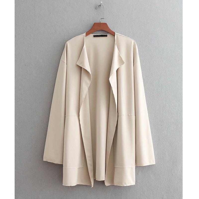 Vintage long sleeve double pocket decoration open stitching loose kimono cover Jacket Outwear topcoats