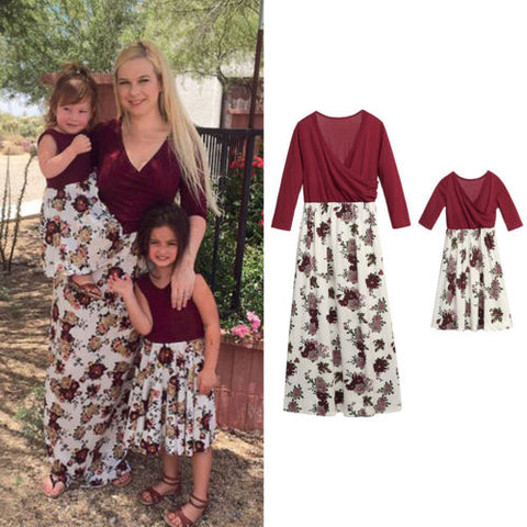 ab8d032e075 Summer Family Clothes Mother Daughter Beach Sundress Women Kids Girls Floral  Long Dress