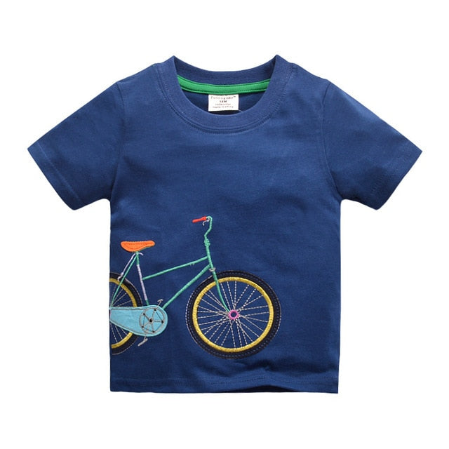 Cotton Boys T-shirts New Summer Style Children Clothing Kids Clothing Tops New Fashion Bicycle Pattern Boys T Shirts