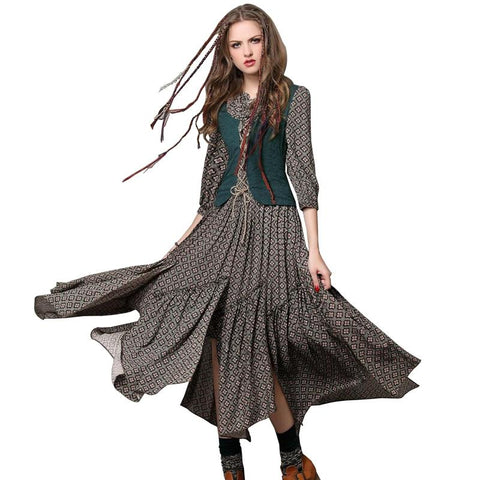 Brand Original Women's Vintage Dress Long-sleeve Spring Summer Slim Waist Elegant lady printed Basic Splicing irregular Dresses