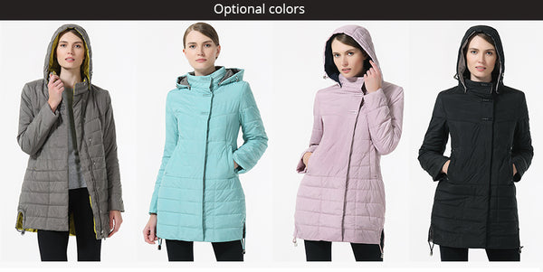 hooded jacket women spring and Autumn Thin cotton coat Thin parka women Casual Overcoats Women Clothes Spring Autumn black